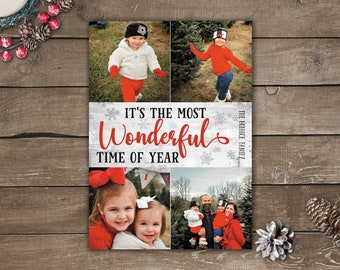 Multiple Photo Christmas Cards, Photo Holiday Cards, Printed Photo Christmas Cards, It's The Most Wonderful Time Of The Year Photo Cards