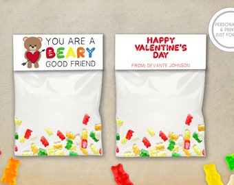 Kids Valentines Day Bag Toppers, Personalized Valentines Day Cards, Printed Kids Valentines, Gummy Bears Valentines Day Cards