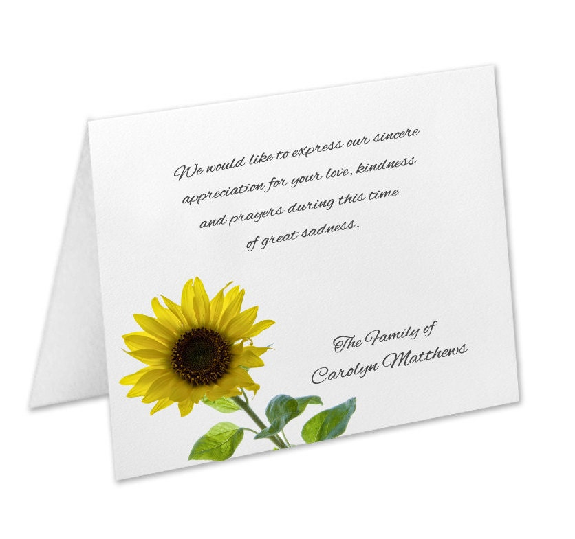 sympathy acknowledgement cards funeral thank you cards sympathy thank yous funeral cards personalized funeral note cards sunflower