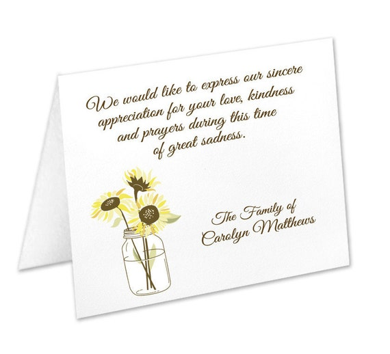 Sympathy Acknowledgement Cards Funeral Thank You Cards Etsy