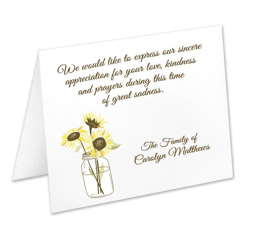 Sympathy acknowledgement cards funeral thank you cards sympathy sympathy acknowledgement cards funeral thank you cards sympathy thank yous funeral cards personalized funeral note cards sunflower m4hsunfo