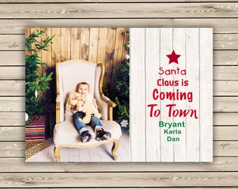 Photo Christmas Cards, Printed Christmas Cards, Santa Claus Is Coming To Town, Kids Christmas Photo Card, Holiday Photo Card, Printed Photo