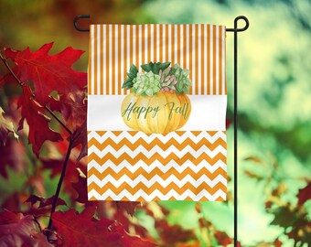Garden Flag, Striped Garden Flag, Fall Garden Flag, Orange Garden Flag, Pumpkin Garden Flag, Pumpkin Flag, Happy Fall Flag