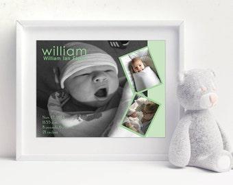New Baby Artwork, Birth Announcement, Newborn Gift, Baby Photos, Baby Stats, Nursery Artwork, New Parents Gift, Baby Photo Keepsake