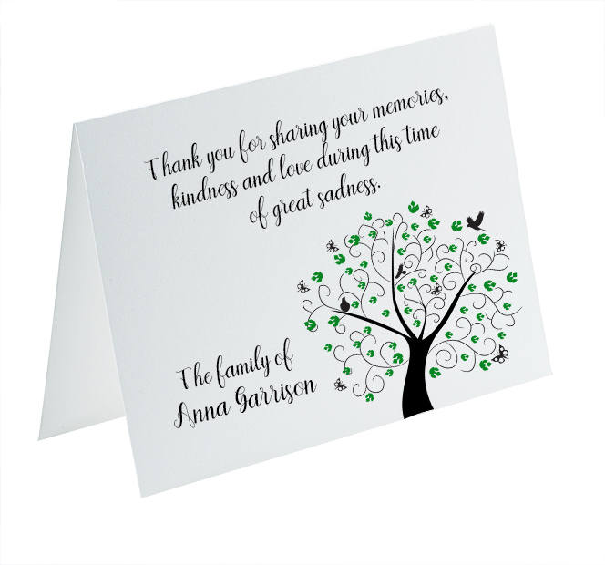 funeral thank you cards sympathy acknowledgement cards bereavement cards funeral cards personalized funeral note cards tree of life