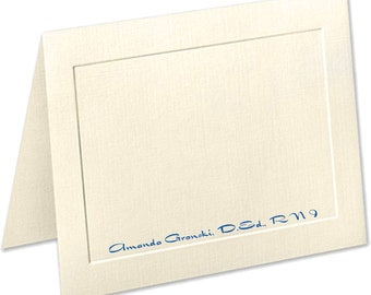 Embossed Panel Linen Finish Personalized Note Cards, Stationery Set, Personalized Notecards, Thank You Cards, Stationary Set, Custom Cards