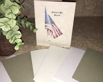 United States Flag Stationery, Personalized Flag Note Cards, Flag Thank You Cards, Stationery, Military Stationary, U.S. Army, Marines, Navy
