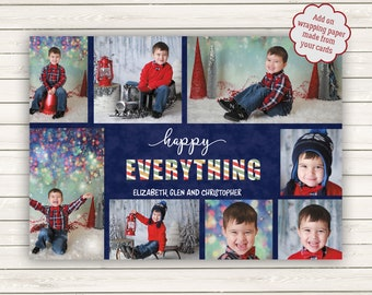 Photo Christmas Cards, Printed Photo Cards, Multiple Photo Christmas Cards, Holiday Photo Cards, Photo Wrapping Paper, Happy Everything