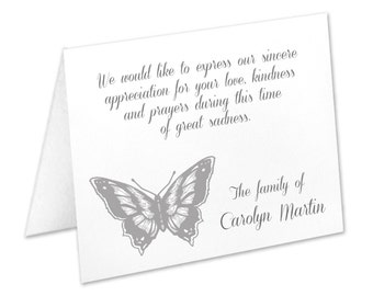 Funeral Thank You Cards, Bereavement Cards, Sympathy Acknowledgement Cards, Funeral Cards, Butterfly Funeral Cards, Butterfly Sympathy Cards