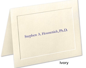 Embossed Panel Personalized Stationery, Linen Note Cards, Personalized Notecards, Embossed Note Cards, Academic Credentials on Stationery