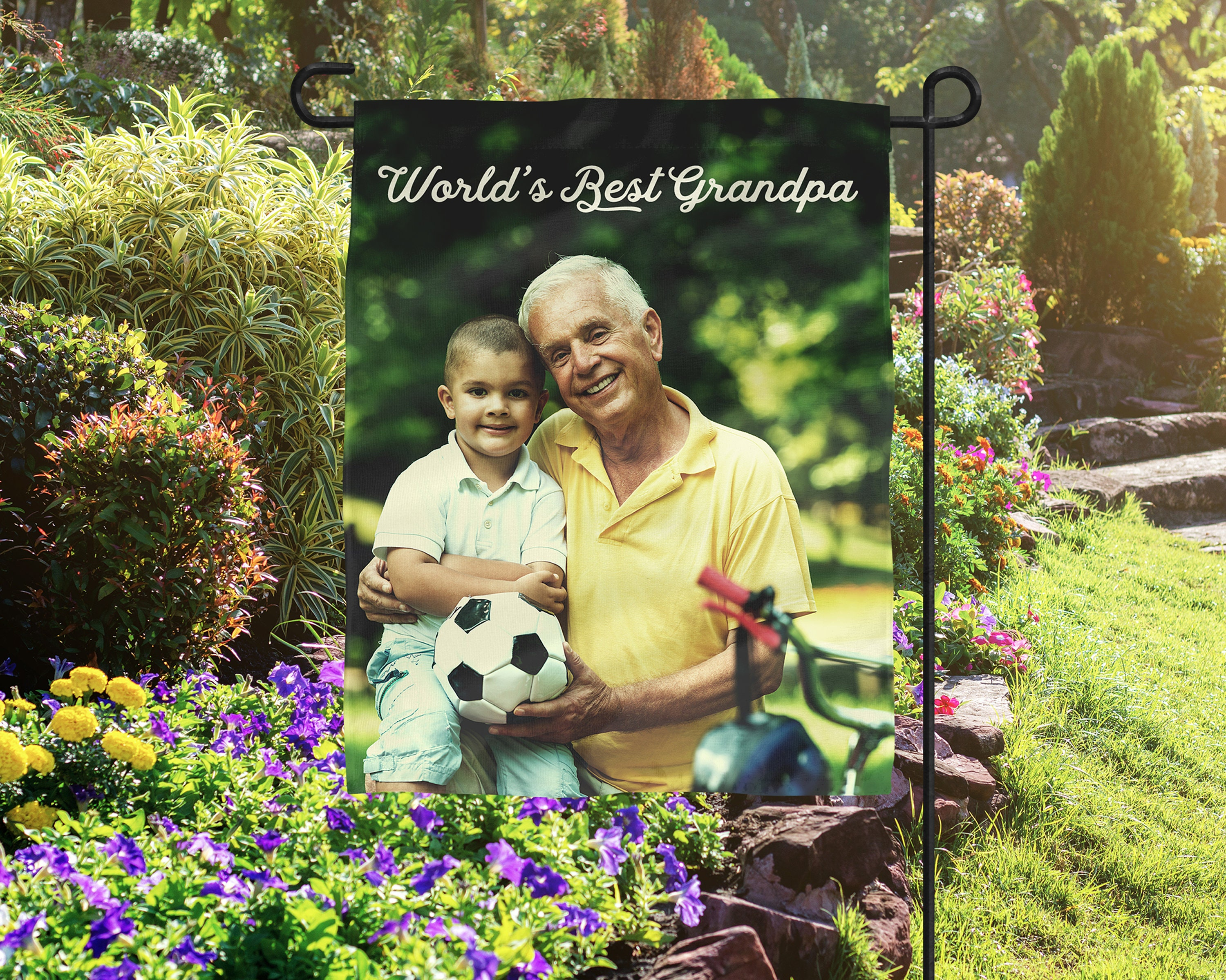 Personalized Father's Day Gift, Photo Flag, Grandpa Photo