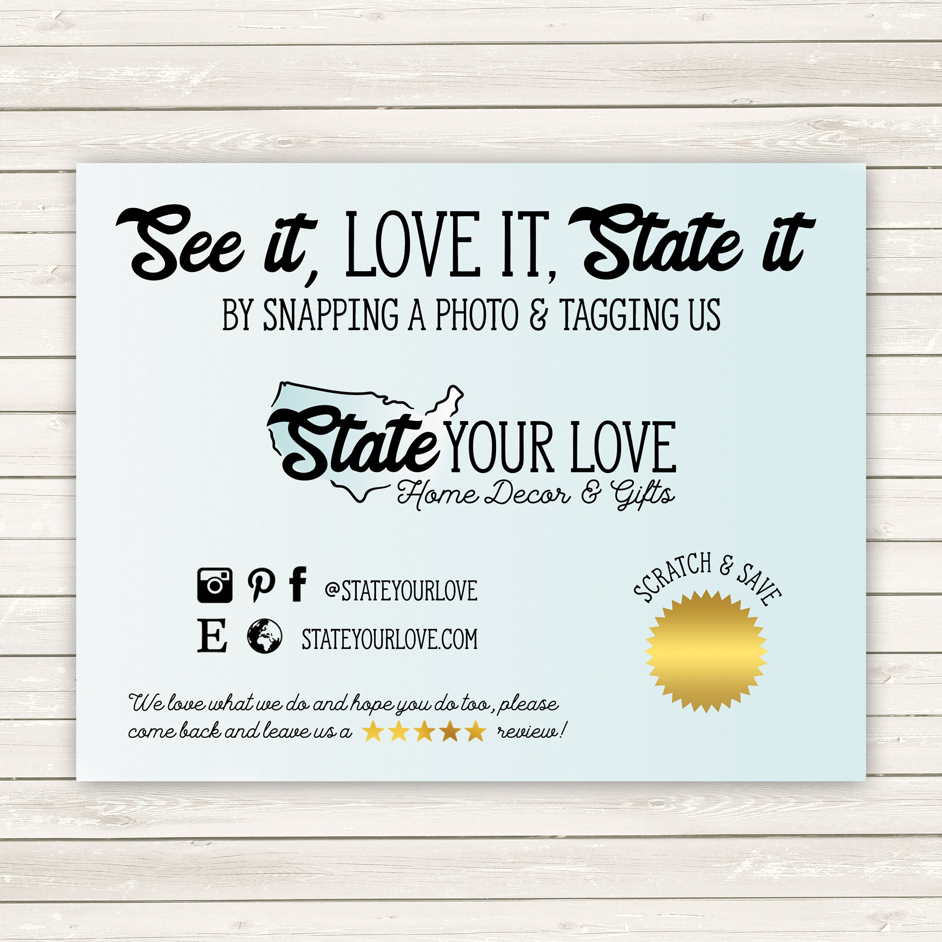 Social Media Cards, Etsy Review Cards, Etsy Thank You Notes, Snap a