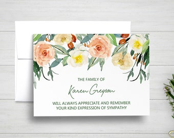 Funeral Thank You Cards, Sympathy Acknowledgement Cards, Bereavement Cards, Sympathy Thank Yous, Funeral Cards, Floral Sympathy Cards