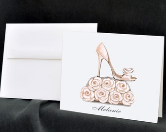 Personalized Bridal Shower Note Cards, Stationery Set, Thank You Cards, Wedding Shoes, Bridal Shoes, Wedding Purse, Roses, Flower Bouquet