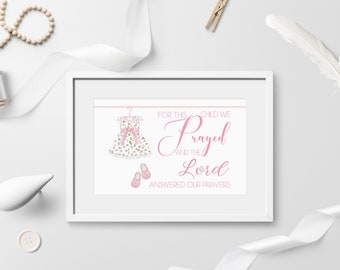 Baby Girl Nursery Decor, Newborn Gift, Baby Girl Gift, For This Child We Prayed And The Lord Answered, Baby Girl Shower Gift