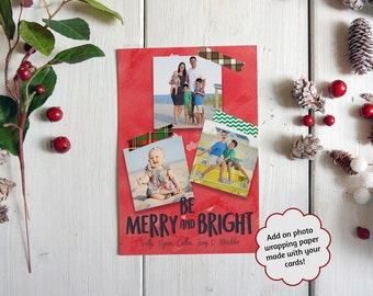 Washi Tape Christmas Cards, Printed Photo Christmas Cards, Plaid Christmas Cards, Merry and Bright Christmas Cards, Photo Wrapping Paper