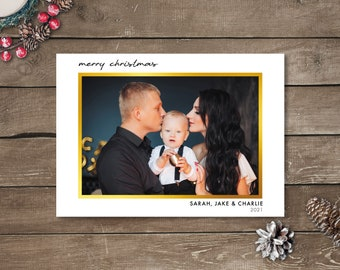 Gold Photo Christmas Cards, Photo Holiday Cards, Printed Photo Christmas Cards, Simplistic Photo Christmas Cards, Large Single Photo Cards