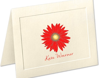 Gerber Daisy Stationery, Embossed Stationery, Personalized Note Cards, Stationery Set, Stationary Set, Thank You Cards, Daisy Notecards