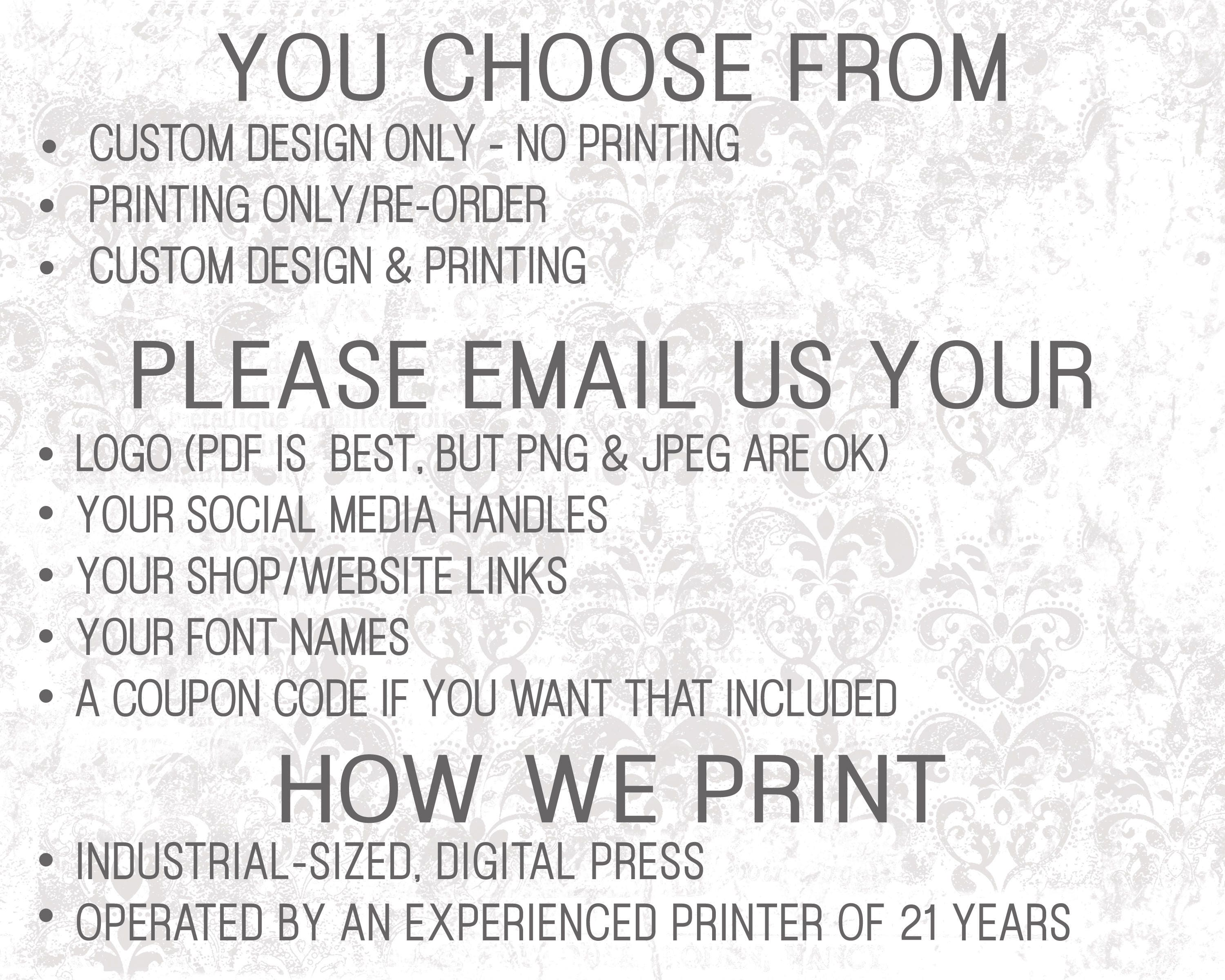 Social Media Cards, Etsy Review Cards, Etsy Thank You Notes