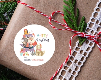 Christmas Tags From Santa, Personalized Gift Labels, Santa Christmas Stickers, Custom Holiday Stickers, Santa Claus Labels
