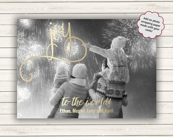 Christmas Card With Photo, Photo Christmas Card, Joy To The World, Gold Christmas Card, Printed Christmas Cards, Photo Wrapping Paper