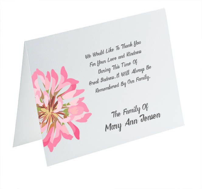 funeral thank you cards sympathy acknowledgement cards bereavement cards funeral cards personalized funeral note cards pink flower card