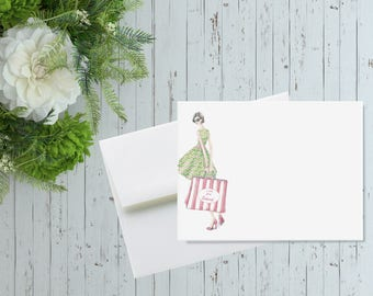 Personalized Flat Note Cards, Shopping Lover Stationery, Thank You Cards, Shopping Bag Stationery Set, Shopping Addict Gift, Stationary Set