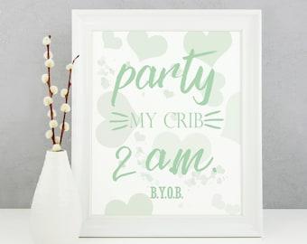 Green Nursery Decor, Party My Crib, Newborn Gift, Gender Neutral Baby Gift, BYOB, Nursery Artwork, Baby Room Print, Funny Baby Decor
