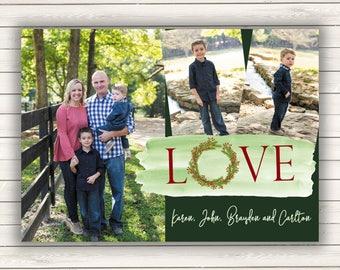 Photo Christmas Cards, Printed Photo Christmas Cards, Multiple Photo Christmas Cards, Holiday Photo Cards, Wreath Christmas Cards, Love Card