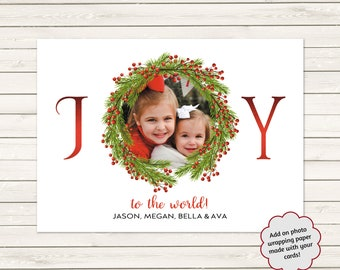 Joy To The World Christmas Cards, Photo Christmas Cards, Printed Christmas Cards, Photo Holiday Cards, Christmas Cards With Wreath