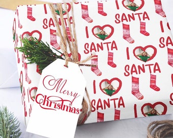 Photo Wrapping Paper, I Love Santa Wrapping Paper, Wrapping Paper Sheets, Christmas Photo Wrapping Paper, Custom Wrapping Paper