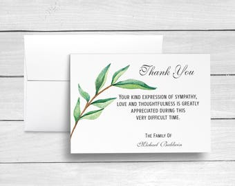 Funeral Thank You Cards, Sympathy Acknowledgement Cards, Bereavement Cards, Sympathy Thank Yous, Funeral Cards, Personalized Funeral Cards