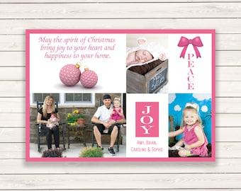 Photo Christmas Cards, Printed Photo Christmas Cards, Pink Christmas Cards, Multi Photo Christmas Card, Holiday Photo Cards, Pink Photo Card