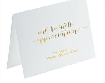 Bereavement Cards, Gold Foil Sympathy Cards, Sympathy Acknowledgement Cards, Funeral Thank You Cards, Foil Funeral Cards, Gold Foil Notecard