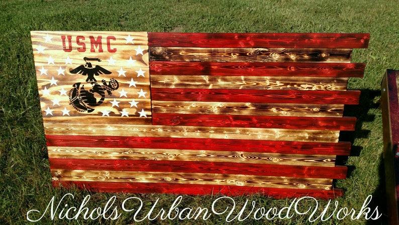 a8a1c7565652 Marine Corps concealment flag hidden gun flag American flag rustic gun  concealment flag gun cabinet wood flag gun furniture united States