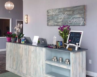 Reception desk - Cash wrap counter with front display shelves- made to order - Annabelle