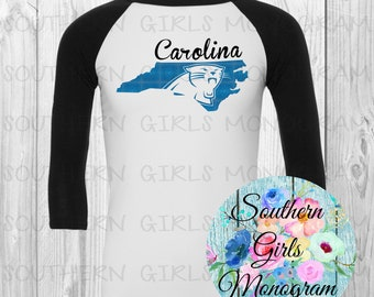 Adult North Carolina Panthers Shirt Carolina Panthers Football Raglan Shirt  Womens Ladies Girls Kids Youth Football Shirt Fall Football 115a17a98