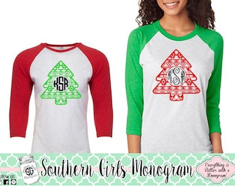 Christmas Shirt • Monogram Christmas Shirt • Aztec Christmas Tree • Monogram Shirt • Holiday Shirt • Girls Christmas Shirt