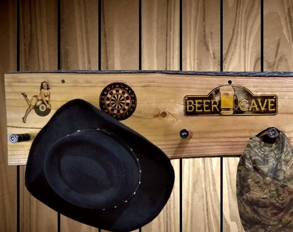 Beer Cave, Coat Hat Rack, Rustic Live Edge Wood, Wall Mount, 6 Shotgun Shell Pegs, Man Cave, Bar, Home Decor, Gift, FREE SHIPPING