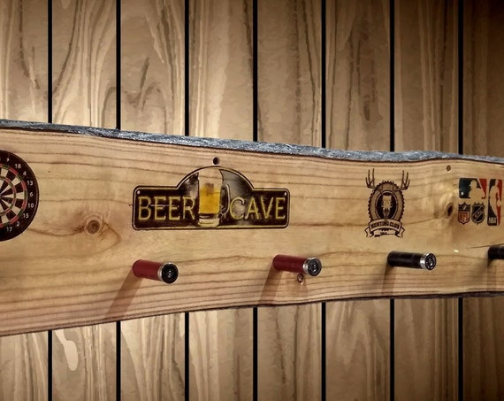 Beer Cave Rustic Coat Rack Live Edge Wood Wall Mount 6 Shotgun Shell Pegs Man Cave Decor, Gift, FREE SHIPPING