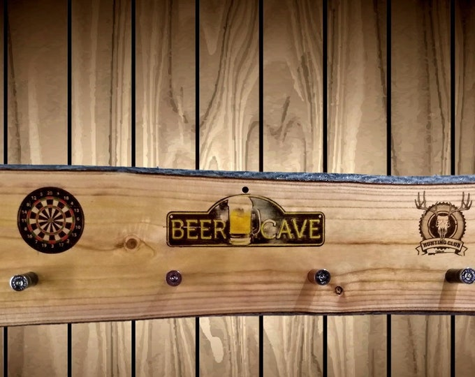 Beer Cave Coat Hat Rack Rustic Wood Wall 6 Shotgun Shell Pegs Man Cave Bar Home Decor