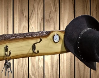 "42"" Live Edge Coat/Key Rack, 6 Hangers/Hooks, Clock, Rustic Poplar, Entryway, Wall, Home, Cabin, Decor, Gift, FREE SHIPPING"