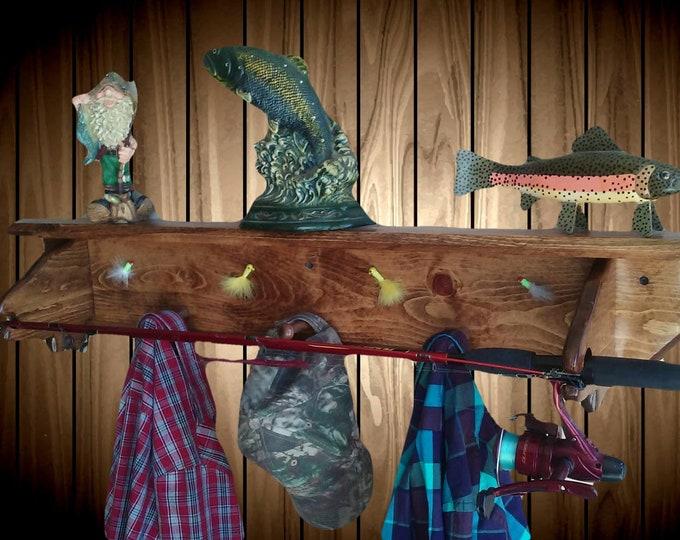 Fish Pole Wall Shelf Display Hat Coat Gear Rack Handmade Gift Home Cabin Lodge Fishing Decor