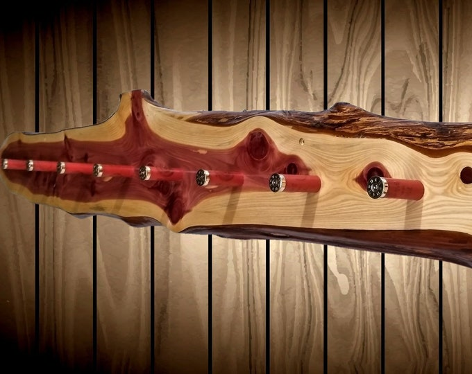 Large Knotty Red Cedar Hat Coat Rack 9 Shotgun Shell Pegs Live Edge Wood Rustic Wall Cabin Decor Gift