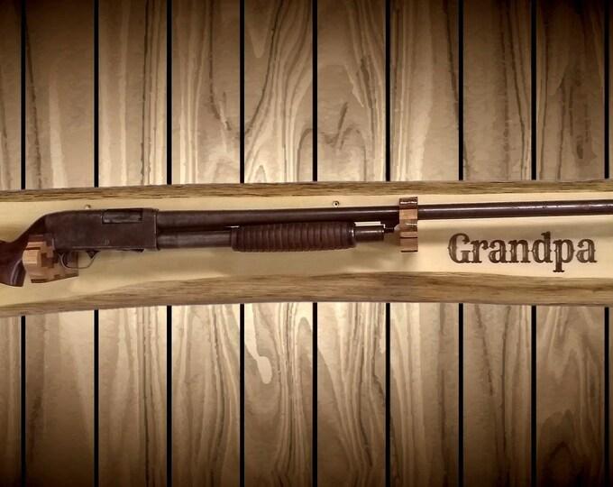 Rustic Cedar Gun Rack Grandpa Unique Butcher Block Holders Rifle Shotgun Hunting Cabin Home Decor Gift