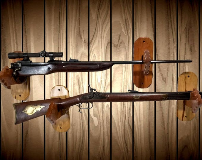 2 Pair Arrowhead Gun Rack Wall Hangers Solid Cherry Holders Rifle Shotgun Bow Sword Hunting Cabin Decor Great Handcrafted Gift