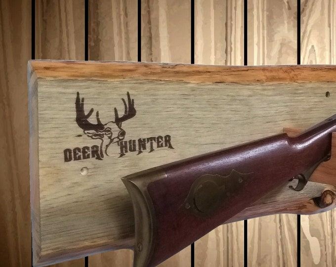 Rustic Knotty Pine Gun Rack Rifle Shotgun Muzzle Loader DEER HUNTER Decor, Free Shipping!