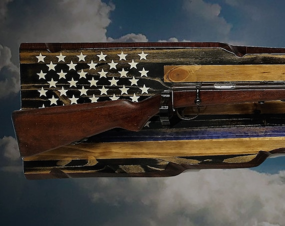 Rustic Flag Thin Blue Line Gun Rack Rifle Shotgun Display Patriotic Décor Police Officer Gift, FREE SHIPPING