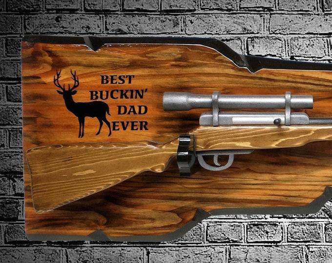 "Rustic ""Best Bucken' Dad Ever"" Gun Rack Wall Mount Unique Rifle Display Birthday Hunting Gift, Free Shipping"