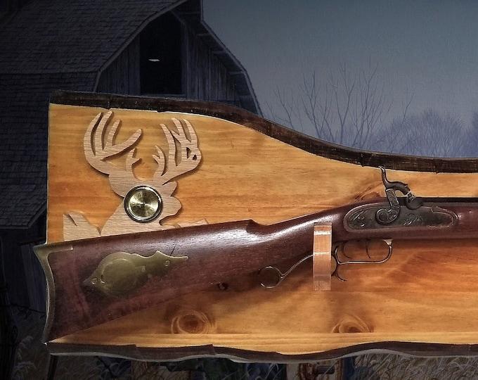Rustic Gun Rack Imitation Live Edge Hunting Rifle Shotgun Buck/Clock Display Cabin Décor Gift. Free Shipping